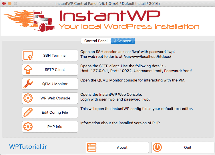 سربرگ Advanced نرم افزار InstantWP در مکینتاش