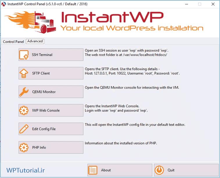 سربرگ Advanced نرم افزار InstantWP
