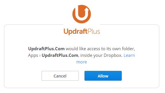 اتصال UpdraftPlus به دراپ باکس