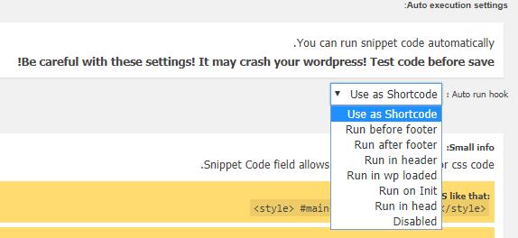 حالت اجرایی کد در Code Snippets Extended