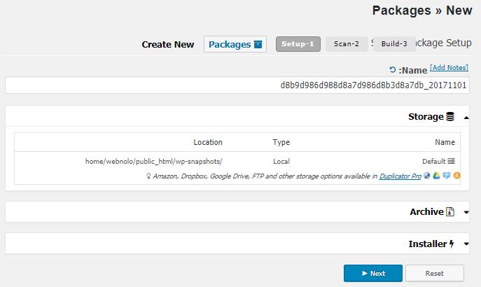 ساخت یک بسته جدید در افزونه Duplicator