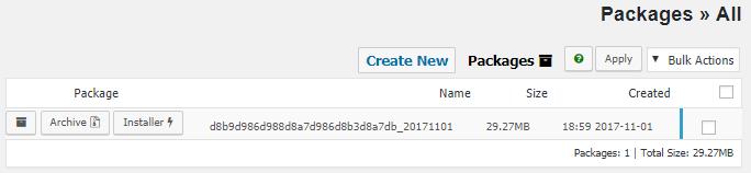 فهرست تمامی بسته ها در Duplicator