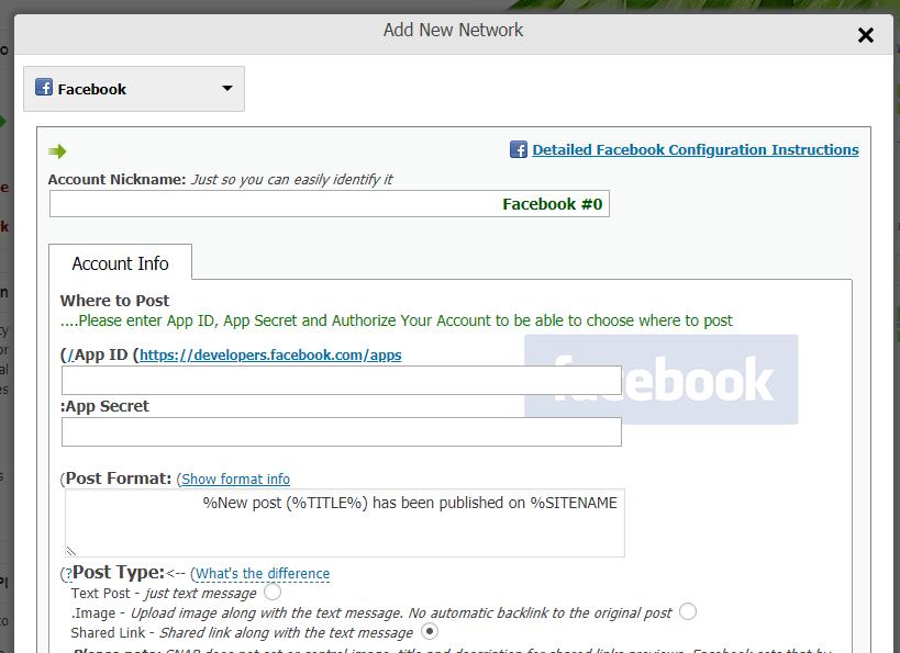 افزودن حساب فیسبوک در NextScripts: Social Networks Auto-Poster