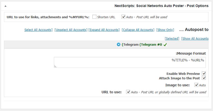 جعبه تنظیمات NextScripts: Social Networks Auto-Poster در صفحه ارسال نوشته