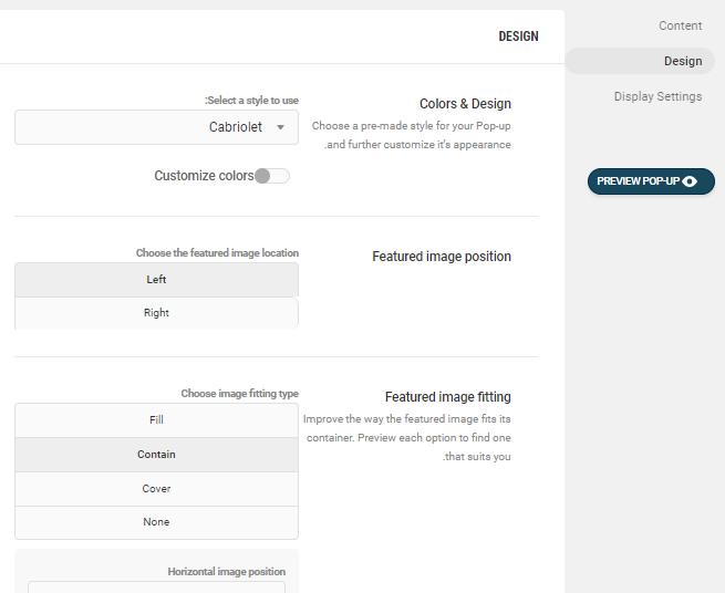 تنظیمات طرح و رنگ پاپ آپ در Hustle WordPress PopUp