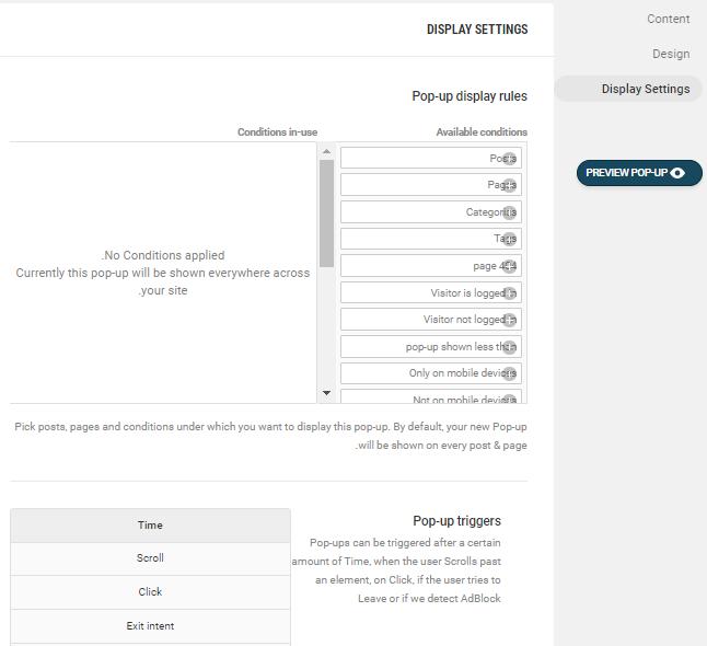 تنظیمات شرایط نمایش پاپ آپ در Hustle WordPress PopUp