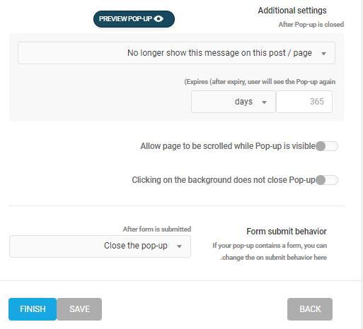 دیگر تنظیمات پاپ آپ در Hustle WordPress PopUp