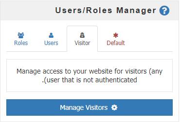 مدیریت دسترسی بازدید کنندگان در جعبه Users/Roles Manager