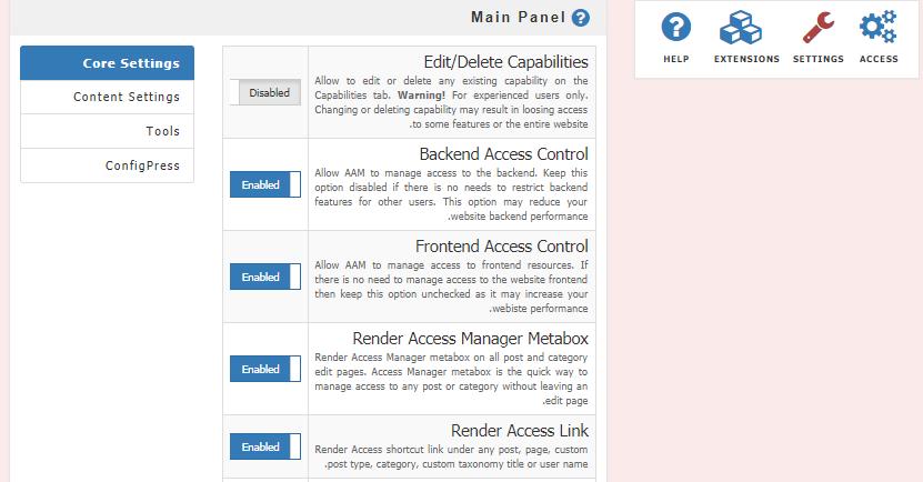 تنظیمات افزونه Advanced Access Manager