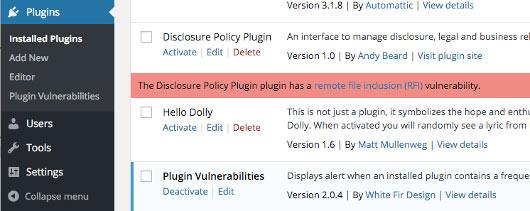بررسی امنیتی افزونه های نصب شده با Plugin Vulnerabilities