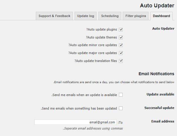 تنظیمات افزونه Companion Auto Update
