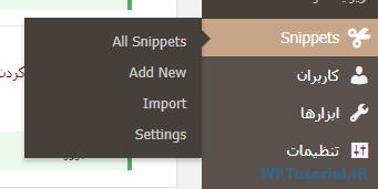 مجموعه صفحات افزونه Code Snippets