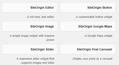 ابزارک های SiteOrigin Widgets Bundle در پیشخوان
