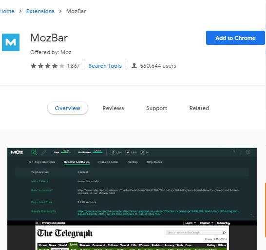 صفحه نصب نوار ابزار MozBar