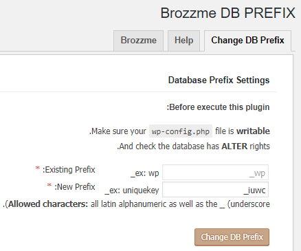 تغییر پیشوند جداول با Brozzme DB Prefix & Tools Addons