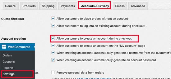 تنظیمات ثبت نام در WooCommerce