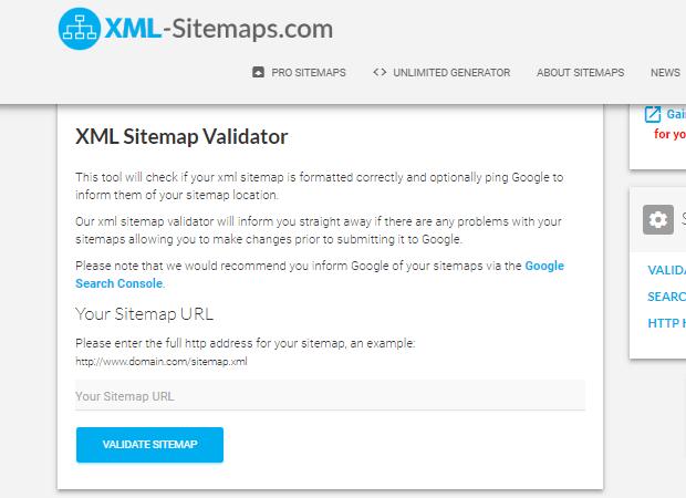 چک کردن نقشه سایت XML با XML Sitemap Validator
