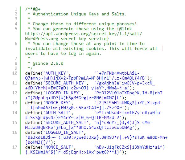 حذف کلیدهای امنیتی Authentication Unique وردپرس