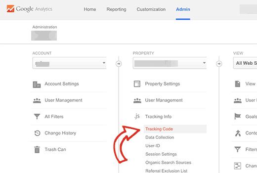 سربرگ Admin در Google Analytics
