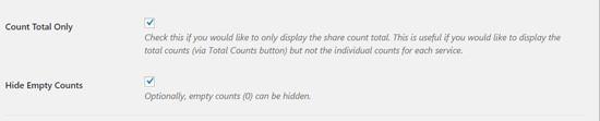 تنظیمات نمایش آمار Shared Count