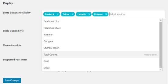 تنظیمات افزونه Sassy Social Share