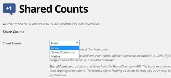 تنظیمات افزونه Shared Counts وردپرس
