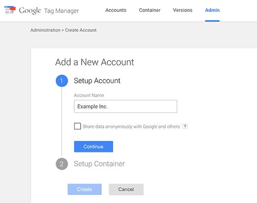 افزودن حساب جدید در Google Tag Manager