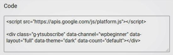 کد تنظیمات کد دکمهی دنبال کردن کانال یوتیوب