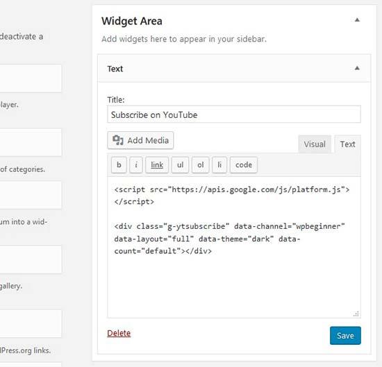 قرار دادن کد دنبال کردن کانال یوتیوب در ابزارک وردپرس