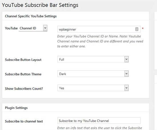 تنظیمات افزونهی YouTube Subscribe Bar
