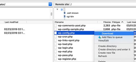دستیابی به wp-config.php از طریق FTP