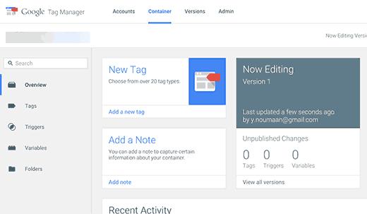 پیشخوان حساب Google Tag Manager