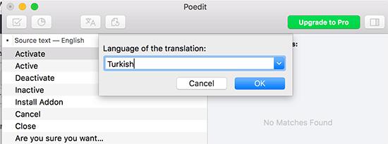 انتخاب زبان مقصد برای ترجمه در Poedit