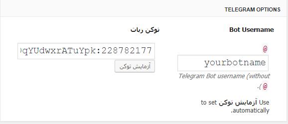 وارد کردن توکن ربات در WP Telegram