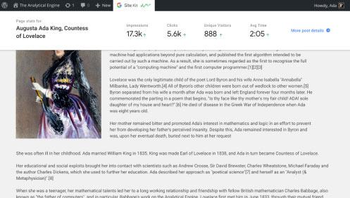 آمار اختصاصی در نوشته توسط Site Kit by Google