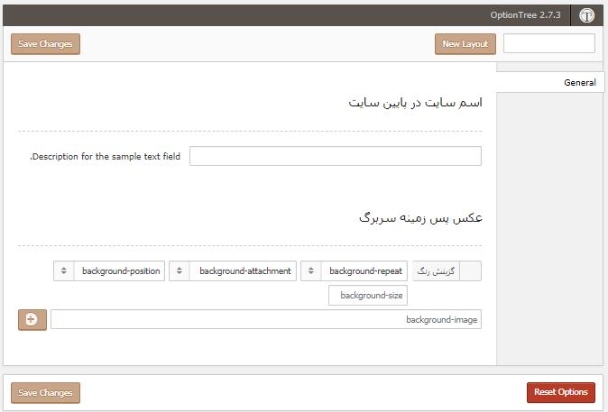 صفحه Theme Options