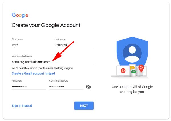 وارد کردن نشانی ایمیل در Your email address