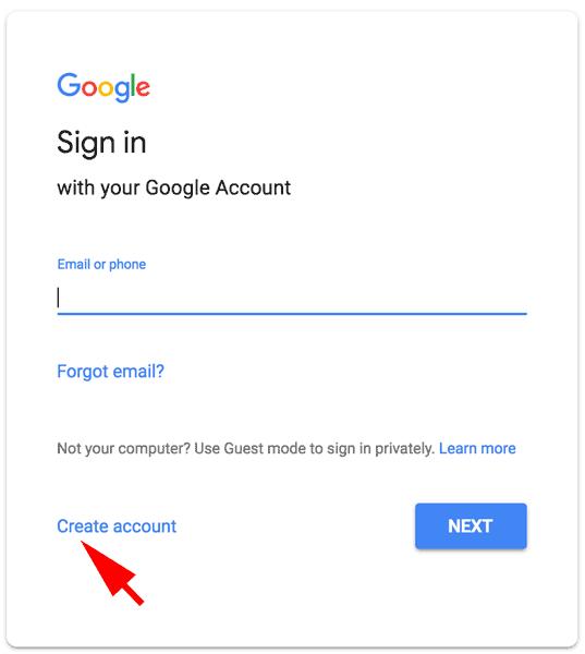 ساخت حساب جدید در Gmail