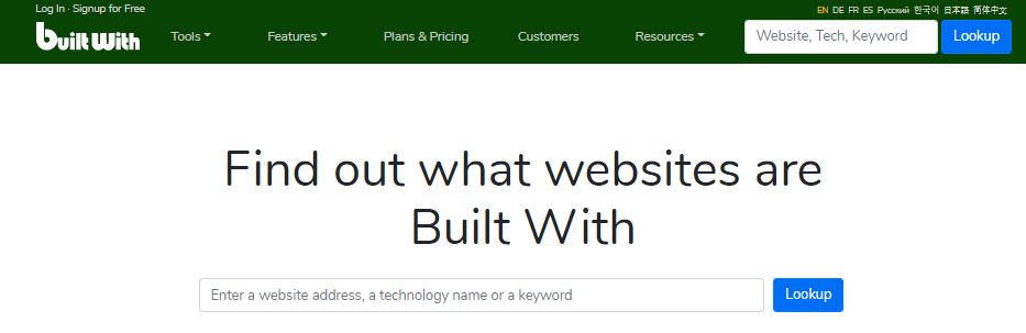 کشف تکنولوژی های سایت های اینترنتی با BuiltWith