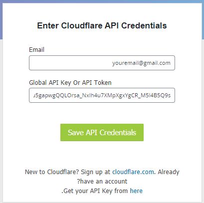 وارد کردن کد API کلودفلر