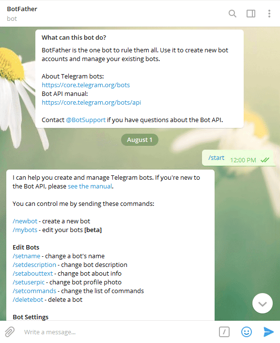ورود به ربات BotFather تلگرام