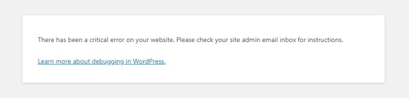 خطای There Has Been A Critical Error On This Website